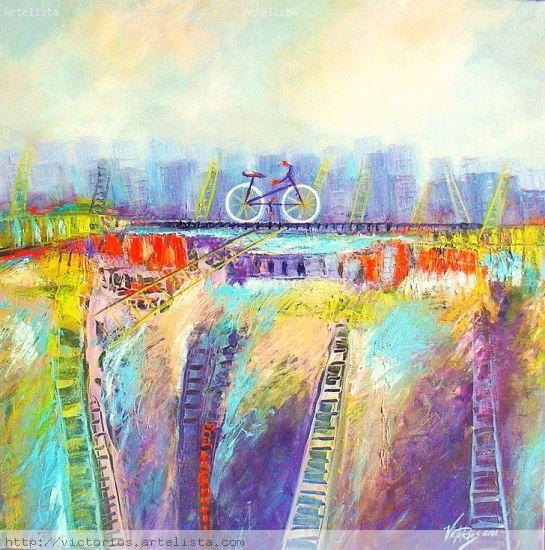 THE BICYCLE # 4.THE EXIT. Óleo Lienzo Otros
