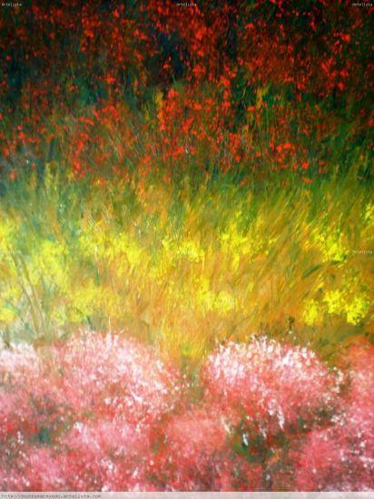 Macizos de Flores Óleo Tabla Paisaje