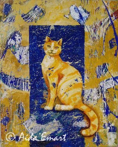 Manchas en la vida de un gato amarillo Media Mixta Lienzo Animales