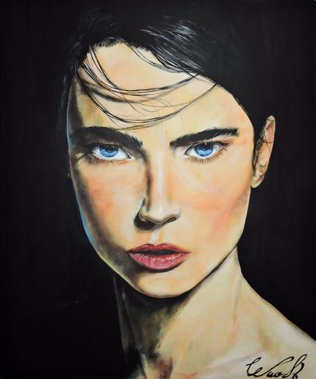 Blue-O Retrato Acrílico Lienzo