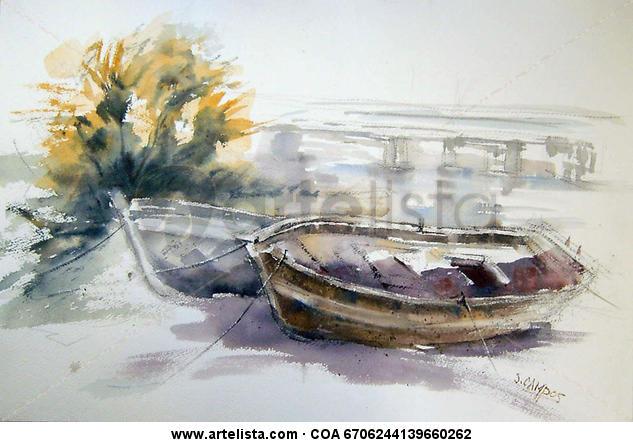 Barcas  Acuarela Marina Papel