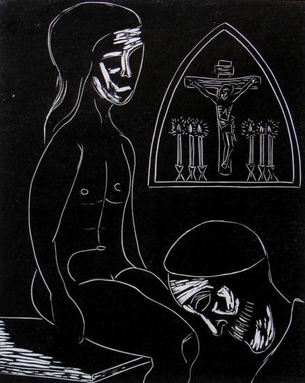 Cardenal y Niña Linograbado