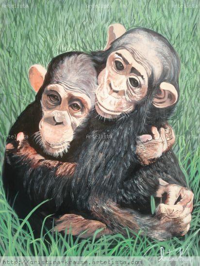 Bebes chimpances Acrylic Textile Animals