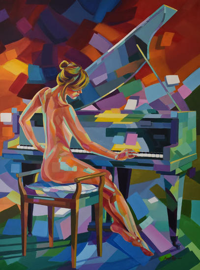 Pianista Canvas Acrylic Figure Painting