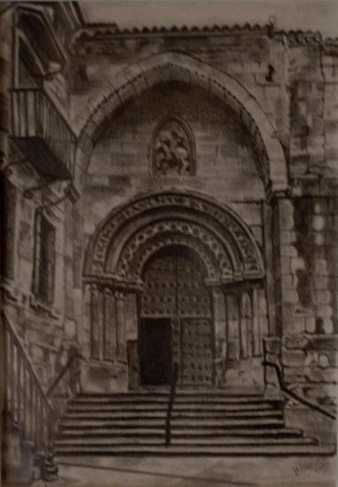Iglesia de San Martin. Salamanca Papel Lápiz (Negro) Paisaje