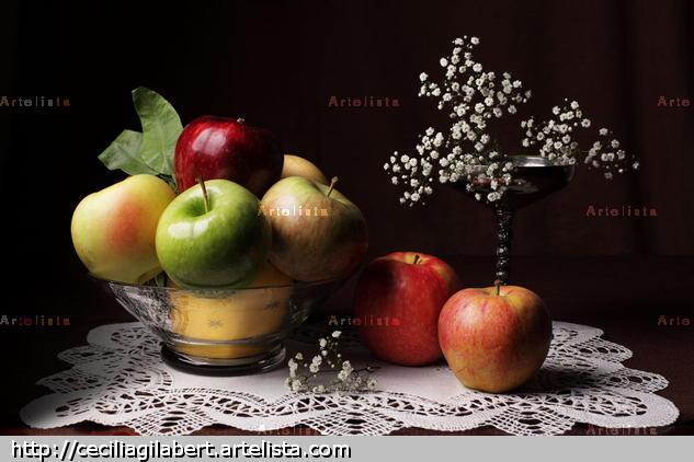 Bodegón de ocho manzanas Color (Digital) Bodegones
