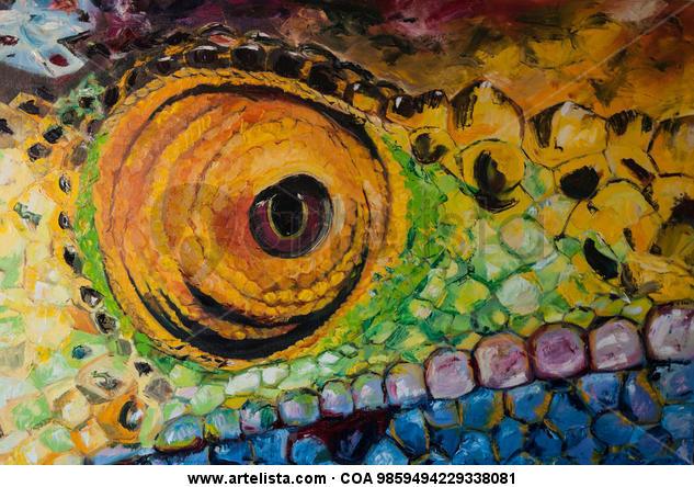 Rainbow chameleon Animals Oil Canvas