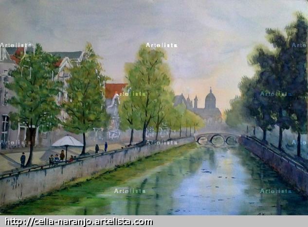 Canal de Amsterdam Acuarela Papel Paisaje