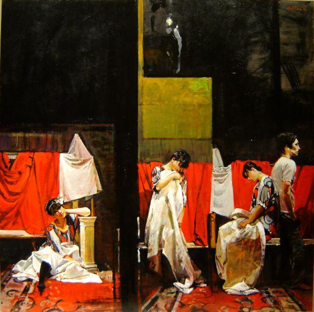 Tres Mujeres y un Varon ll Tabla Óleo Figura