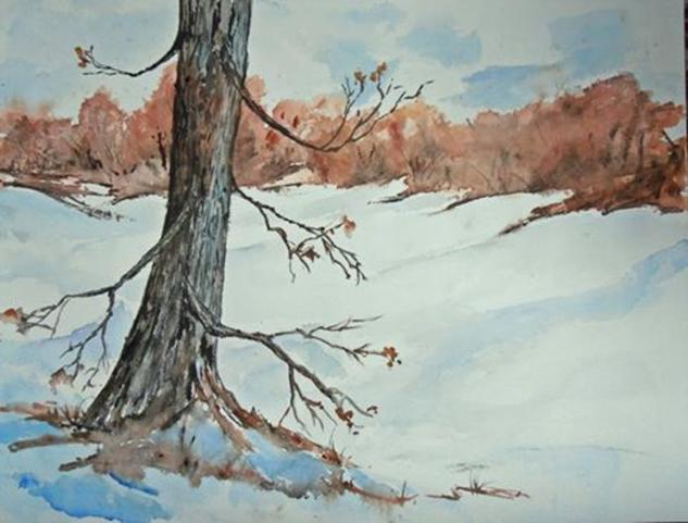 Pasando el invierno Papel Acuarela Paisaje