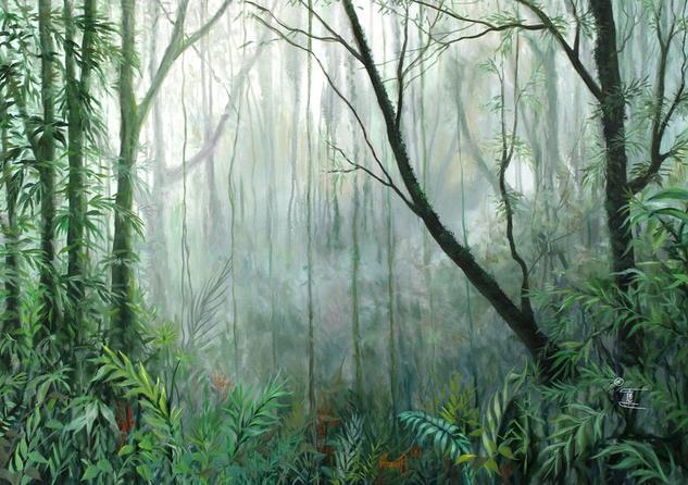 Bosque Humedo Tropical I Paisaje Óleo Lienzo