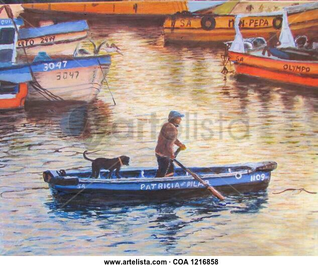 Fiel compañero. Marine Painting Oil Canvas
