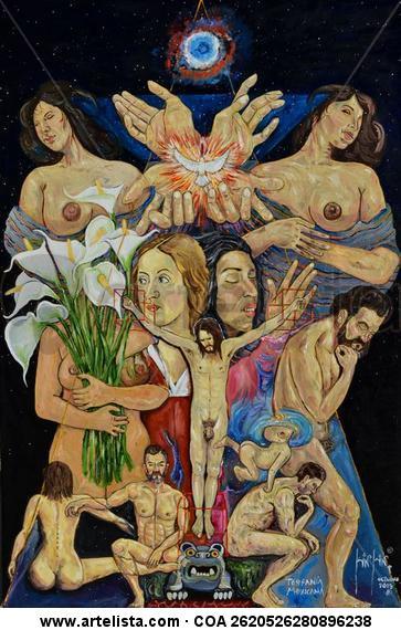 Teofanía Mexicana Lienzo Óleo Desnudos