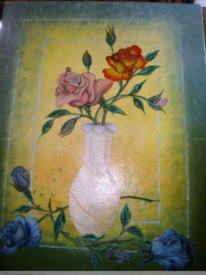 ROSAS AZULES Óleo Lienzo Floral