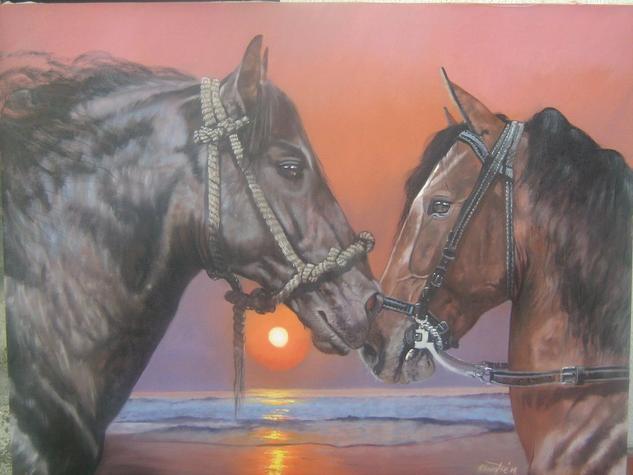 romance equino Animals Oil Canvas
