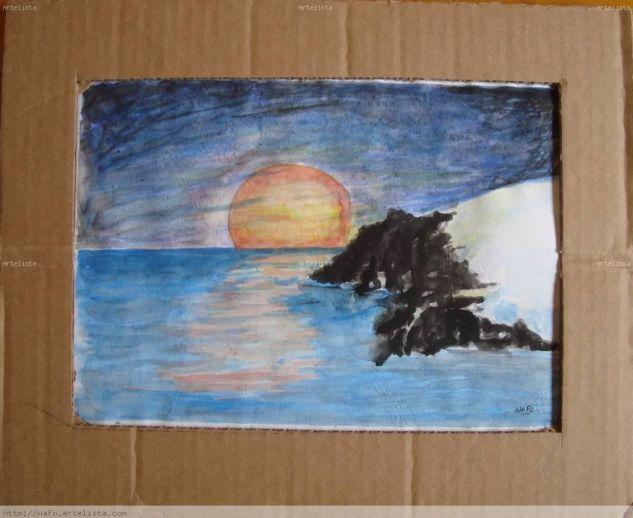luna Acuarela Papel Paisaje