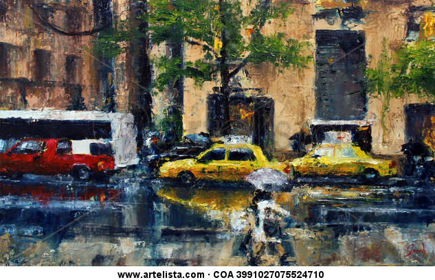 Rain on the city Canvas Oil Landscaping
