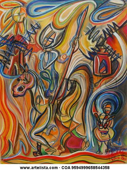 Don Quijote y Sancho en los molinos de viento Figure Painting Card Mixed media