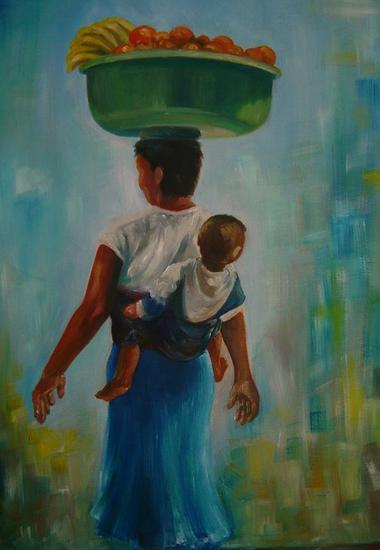 Mulher vendendo frutas, carregando bebe Óleo Lienzo Paisaje