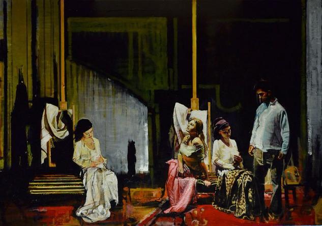 La Indiferencia Figure Painting Oil Panel