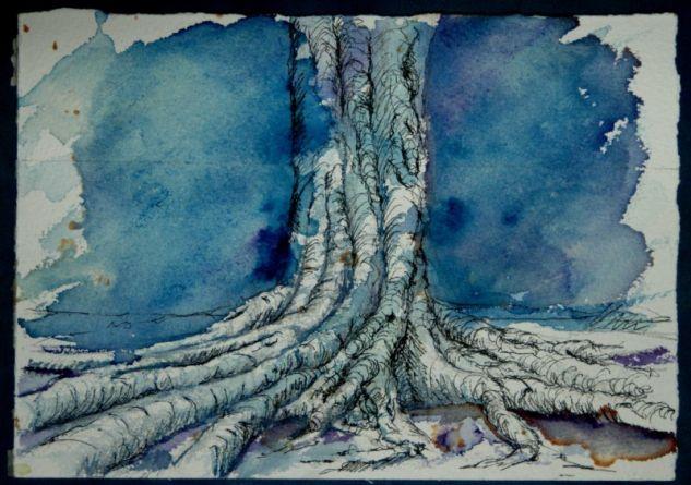 árbol sobre azul Acuarela Papel Paisaje