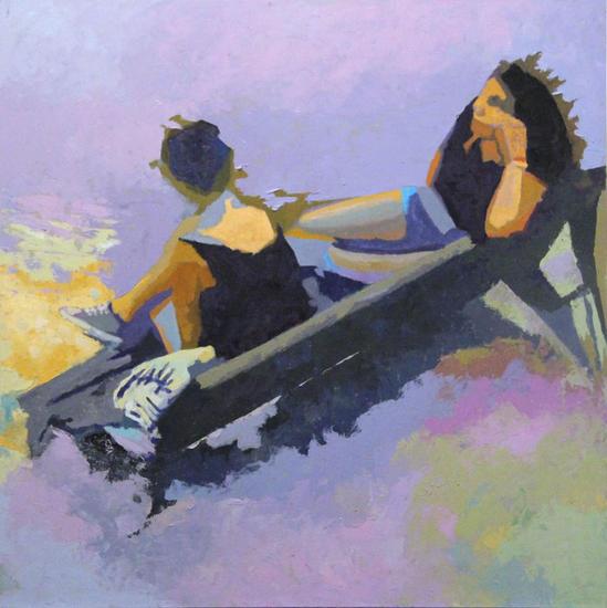 Confidencias Panel Oil Figure Painting