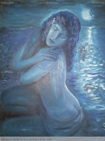 Noche azul Óleo Lienzo Desnudos