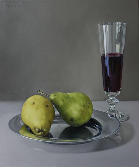 Peras y copa Bodegones Óleo Lienzo