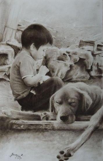 Aliado a mis sentimientos Papel Óleo Animales