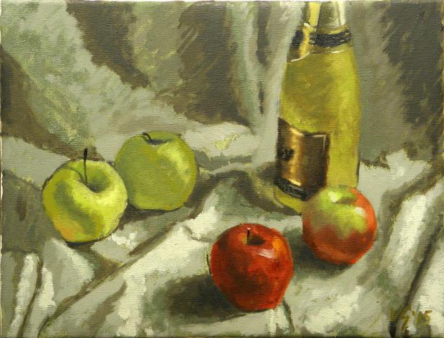 Pomes i cava Still Life Paintings Oil Canvas