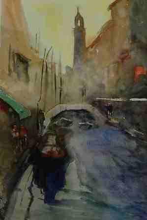 Venecia Acuarela Papel Paisaje