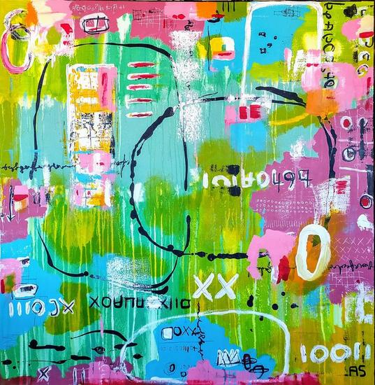The code Others Mixed media Canvas