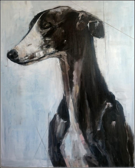 Galgo Lienzo Media Mixta Animales