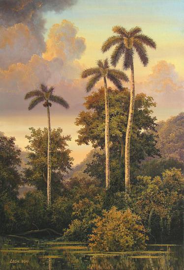 Añoranza de palmeras Óleo Lienzo Paisaje