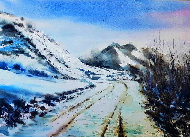 carretera nevada ASTURIAS Landscaping Watercolour Paper