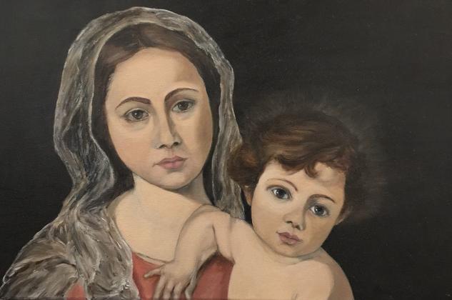 Madonna and child Figura Óleo Lienzo