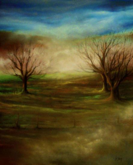 Entre la niebla Paper Pastel Landscaping