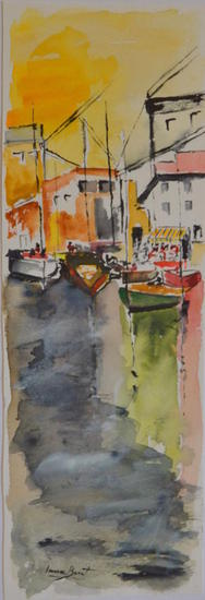 PORT DE PESCADORS Card Watercolour Marine Painting