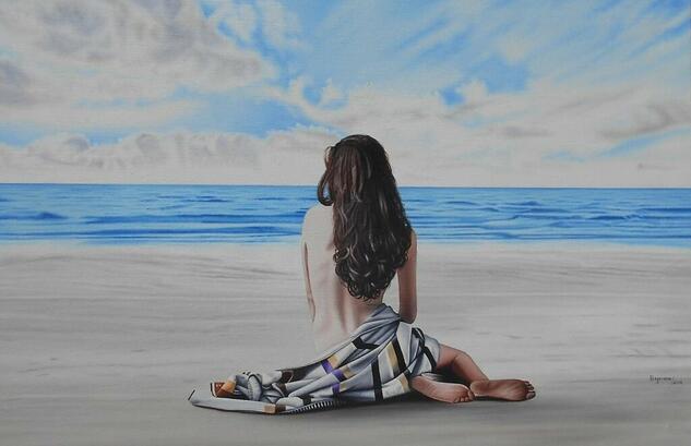 Mujer con toalla en la playa Marina Óleo Lienzo