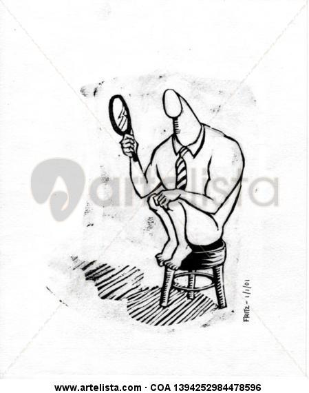El hombre del espejito Técnica Mixta