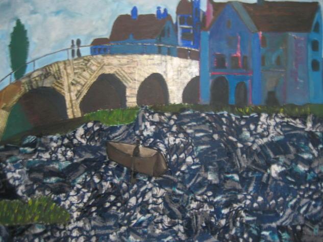 Puente sobre río agitado Landscaping Canvas