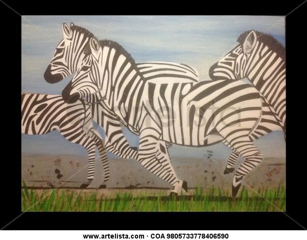 Zebras en el prado Animales Acrílico Lienzo