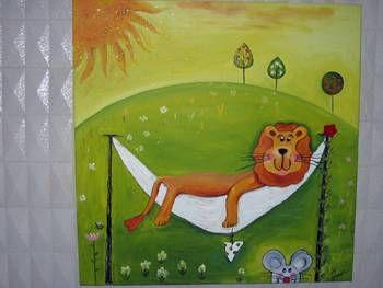 El león y el ratón Óleo Lienzo Animales
