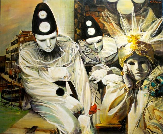 Carnaval Veneciano Figure Painting Oil Panel