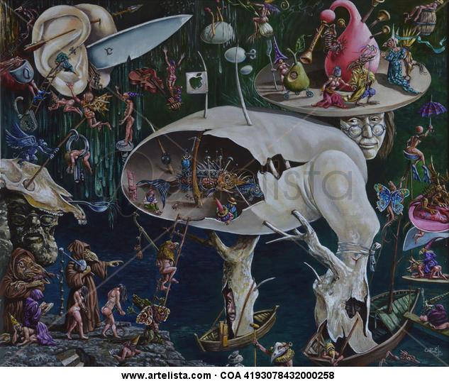 Fragmento de ¨El jardín de las delicias¨. Canvas Acrylic Landscaping
