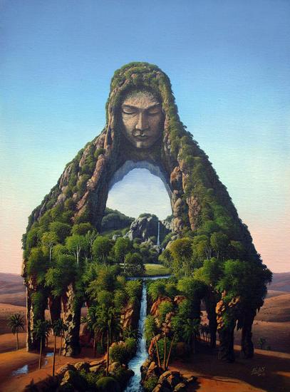 Un Portal en el Oasis Lienzo Acrílico Paisaje