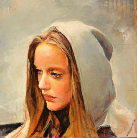 La dama con capucha gris Tabla Óleo Retrato