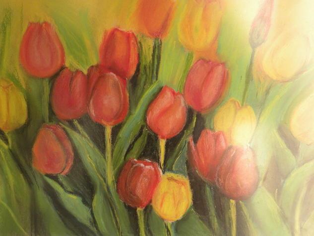 Tulipanes rojos y amarillos. Floral Pastel Cristal