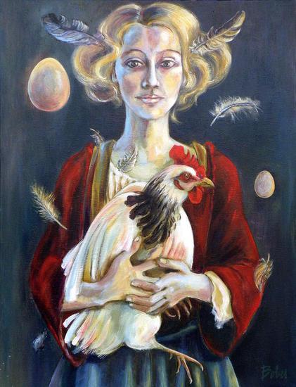 Catalina y los pollos Lienzo Óleo Retrato