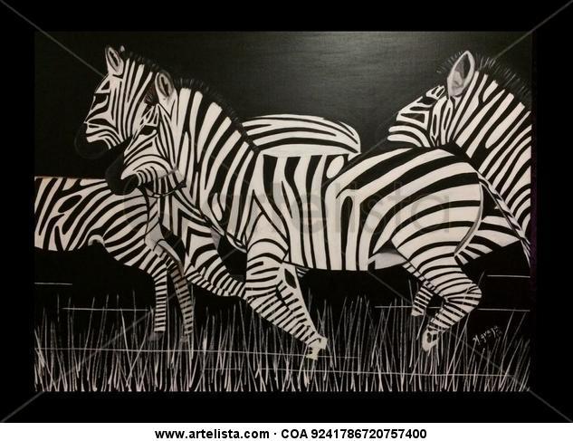 Zebras en la noche Lienzo Acrílico Animales
